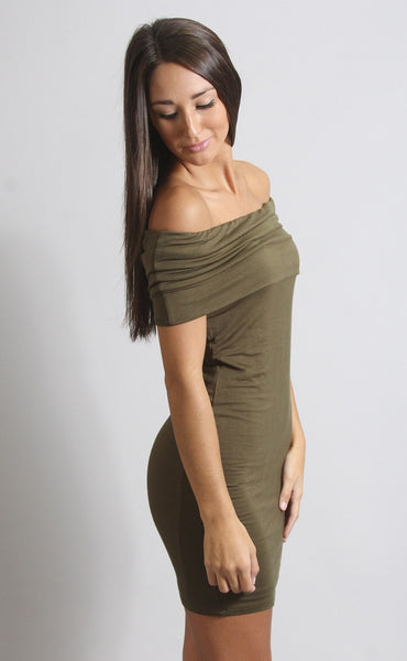 dancing in the dark off shoulder dress - olive