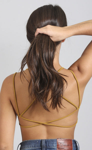 dare to bare strappy bralette - bronze