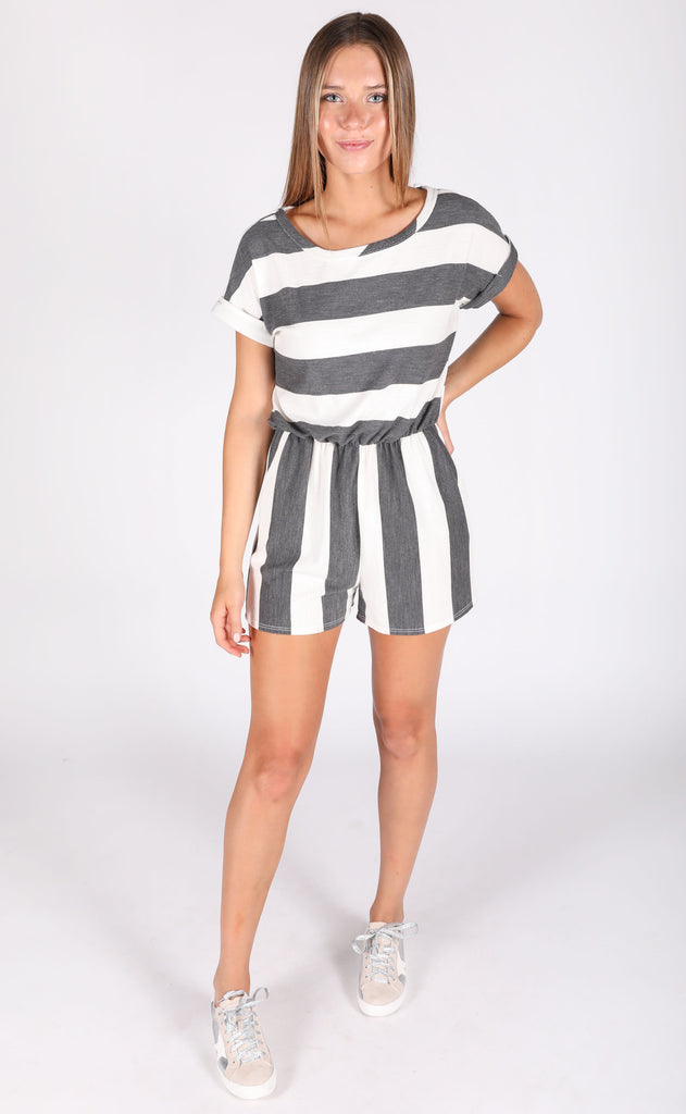 day off striped romper - black