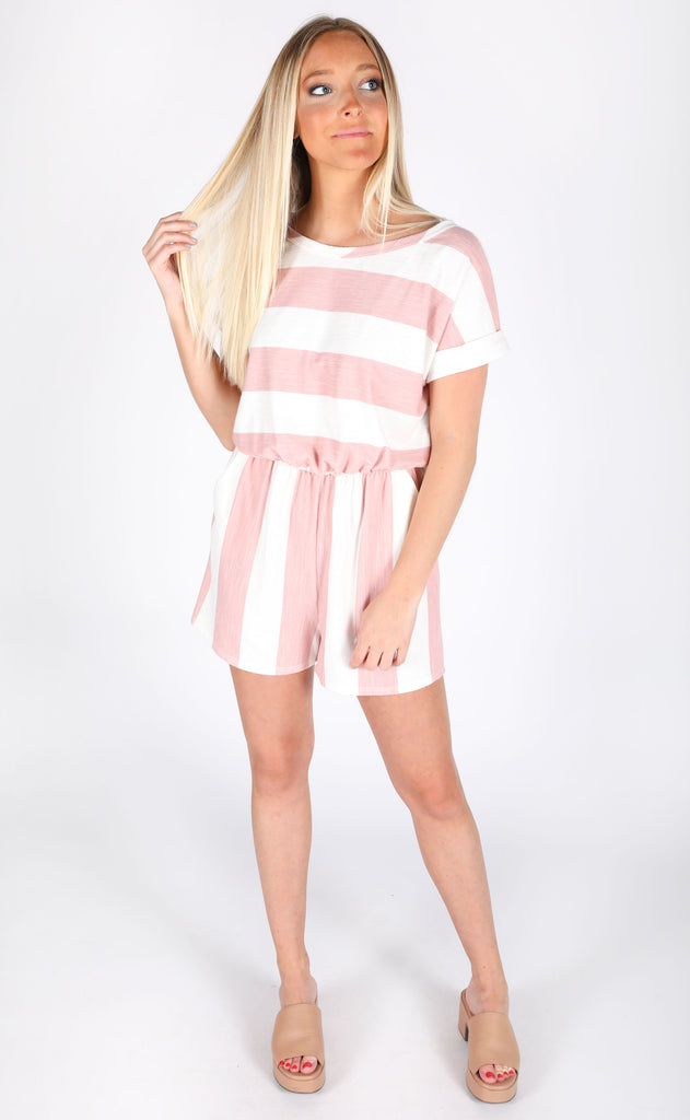 day off striped romper - coral