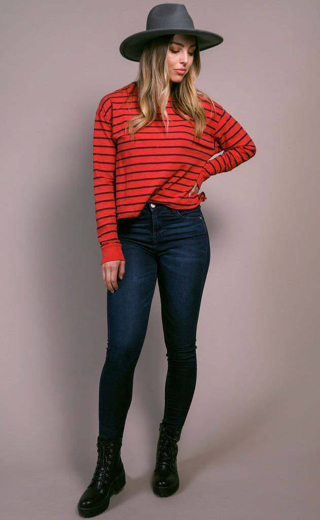 daydreamer: striped long sleeve tee - vintage red