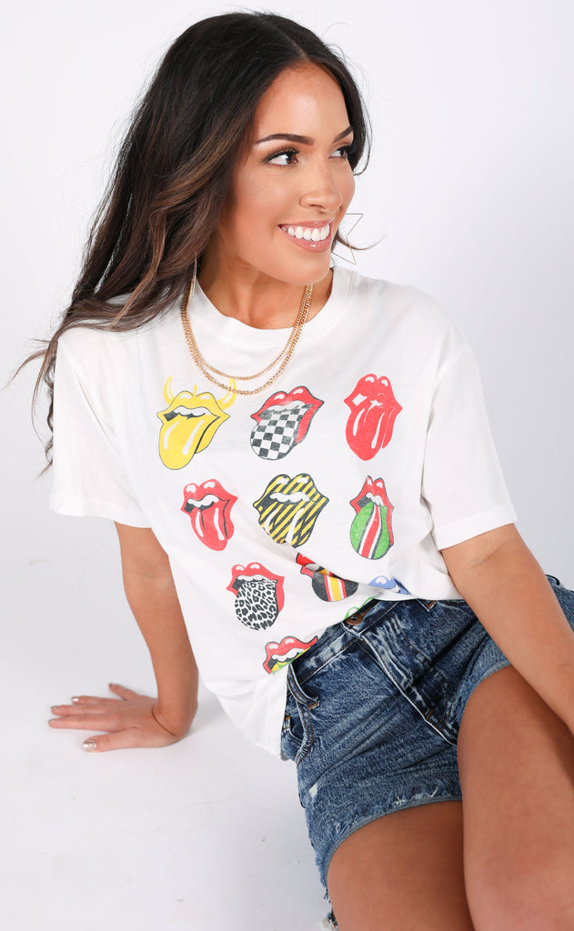 daydreamer: rollings stones 12 tongues boyfriend tee