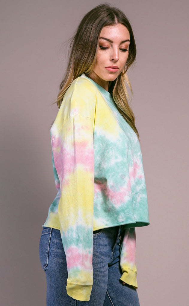 daydreamer: long sleeve crop - lily pad tie dye