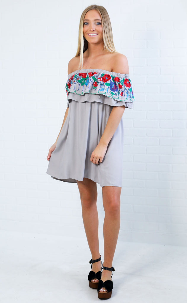 decked out embroidered dress - grey