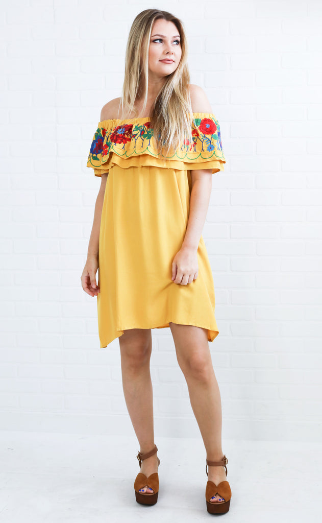 decked out embroidered dress - mustard