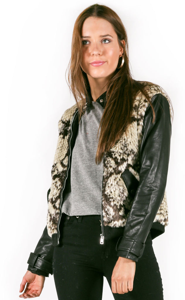 decked out fur bomber jacket