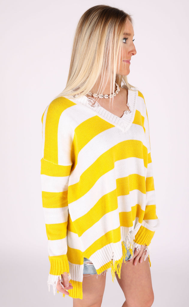 show me your mumu: delphina distressed sweater - yellow rugby stripe