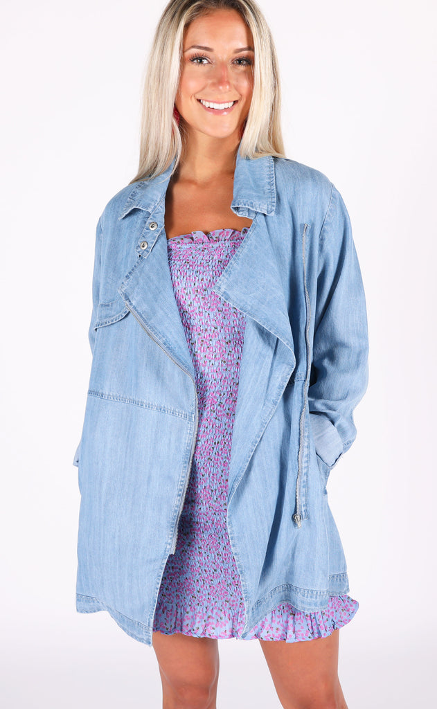 denim dream zip up jacket
