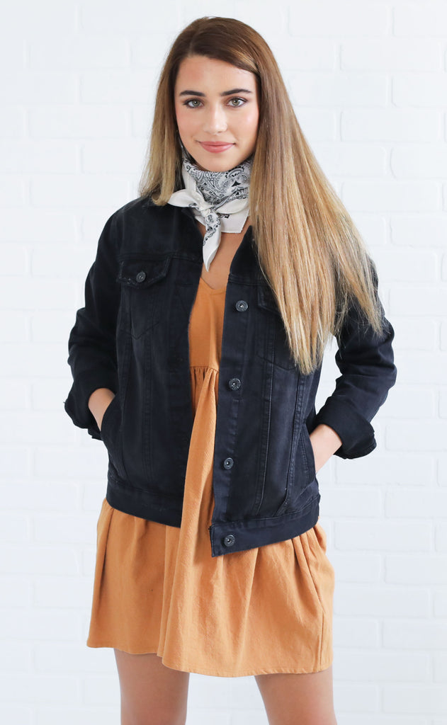 denim darling jean jacket - black