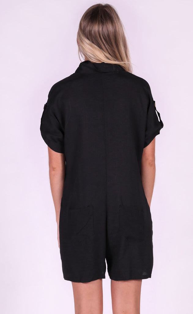 desert daze button up romper - black
