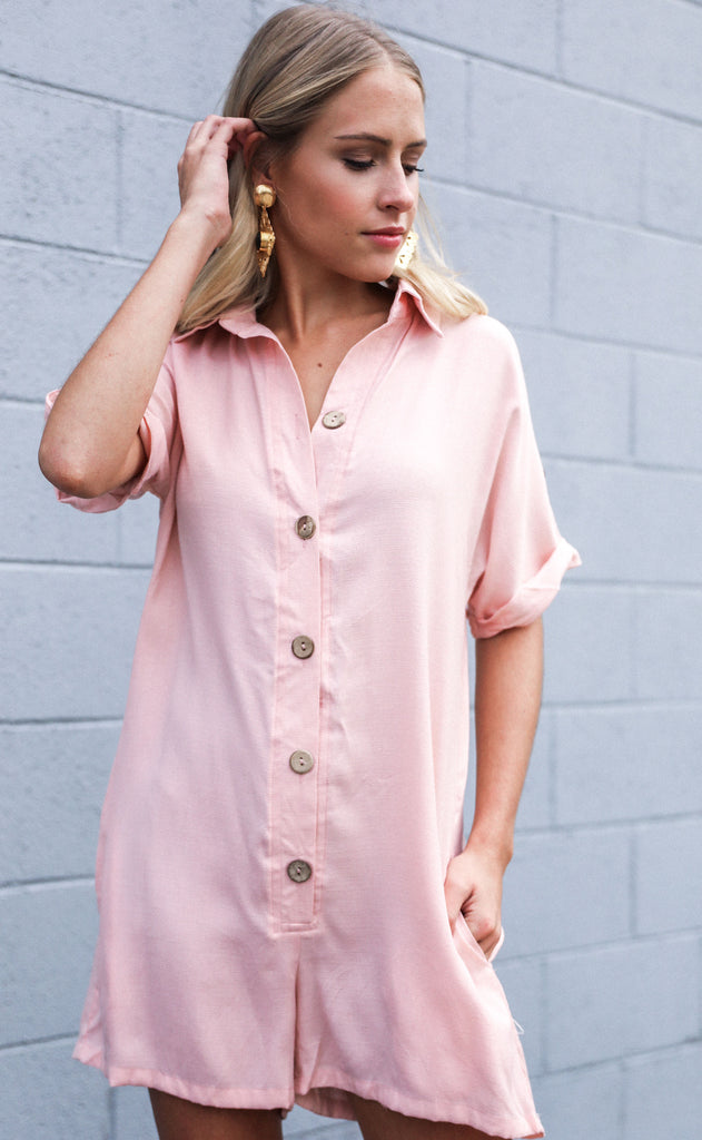 desert daze button up romper - blush