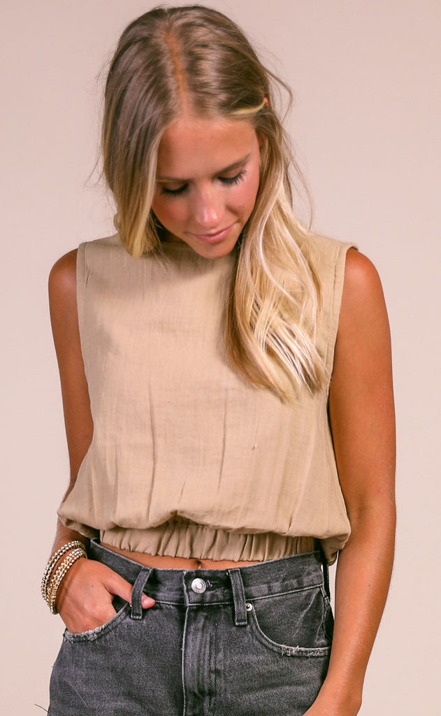 desert days woven top - tan