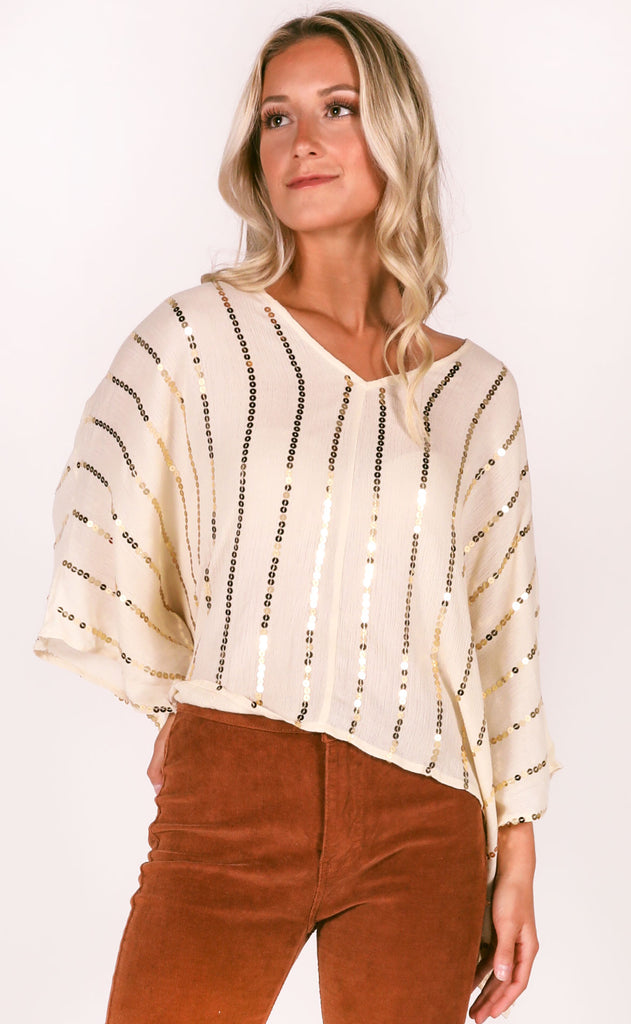 dipped in gold embellished top