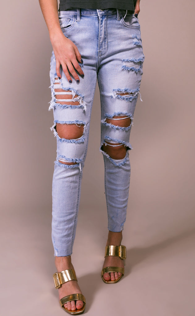 distressed out skinny jeans