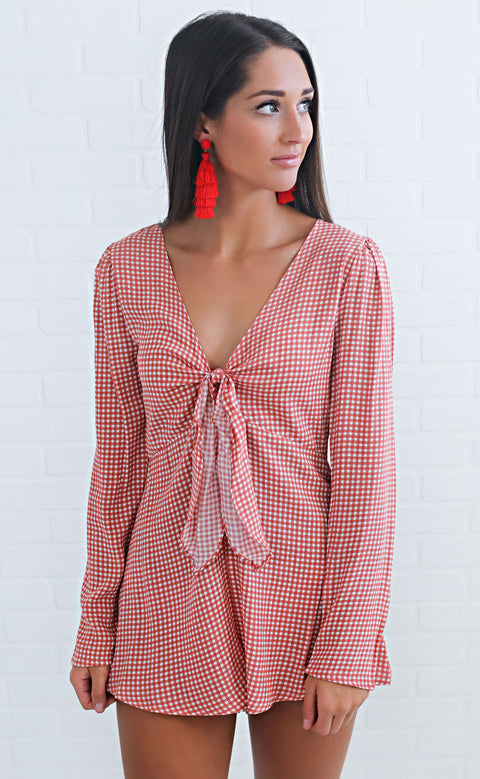 dixie delight gingham romper - red