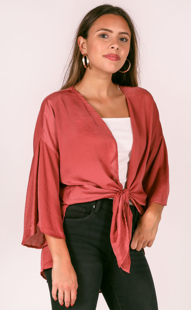 do or tie silky top - brick