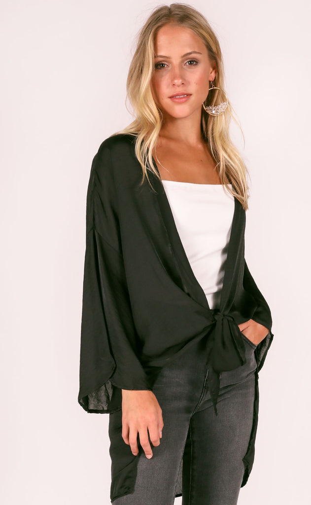 do or tie silky top - black