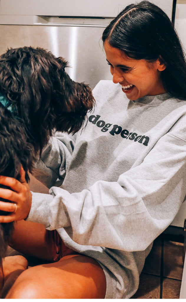 friday + saturday: dog person sweatshirt