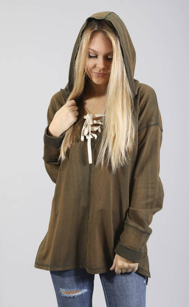 don't sweat it lace up sweatshirt - olive