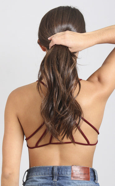 don't cross me strappy bralette - burgundy
