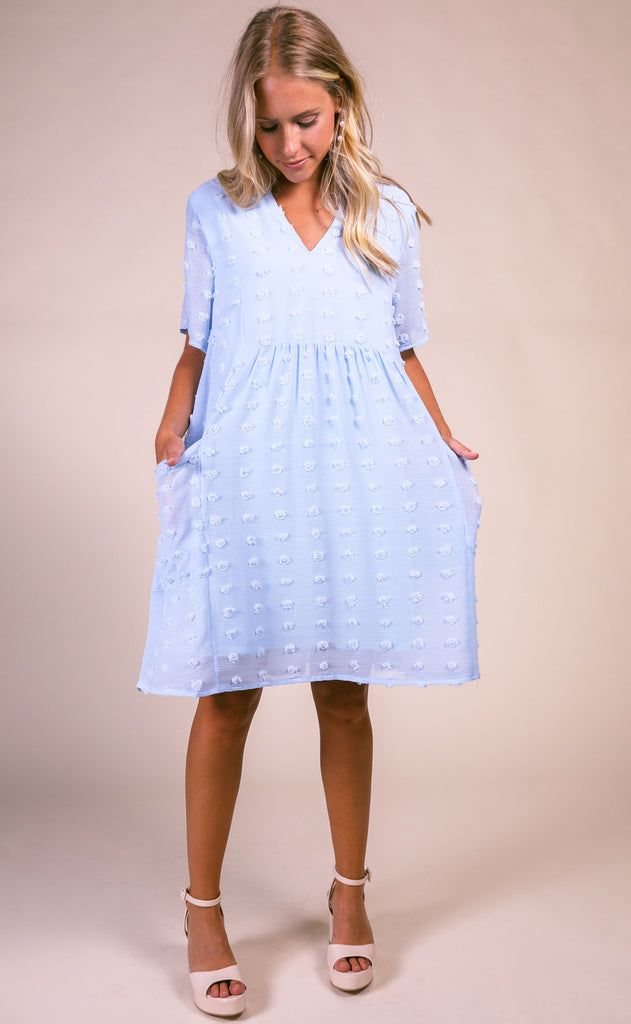 dot dot dot textured dress - light blue