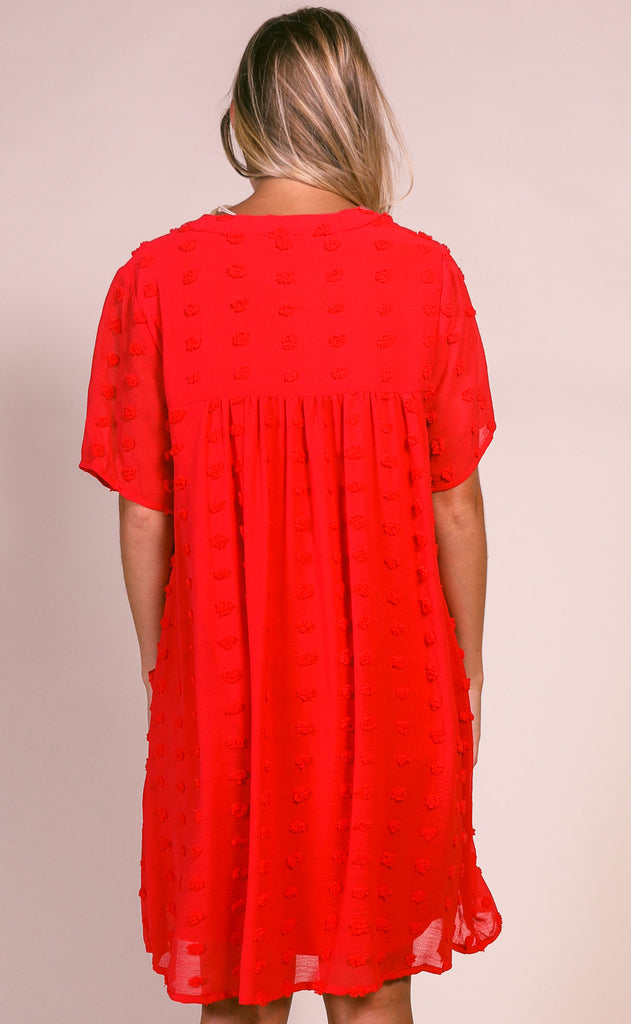 dot dot dot textured dress - red