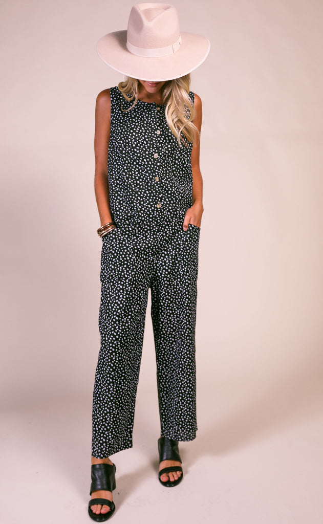 on the dot slouchy jumpsuit - black