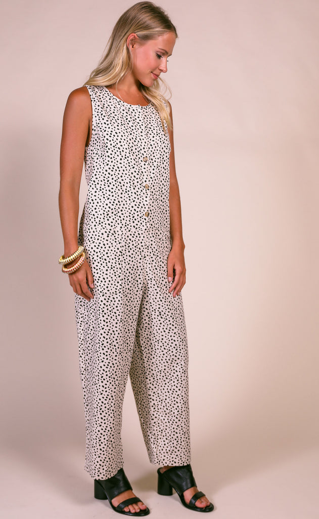 on the dot slouchy jumpsuit - cream