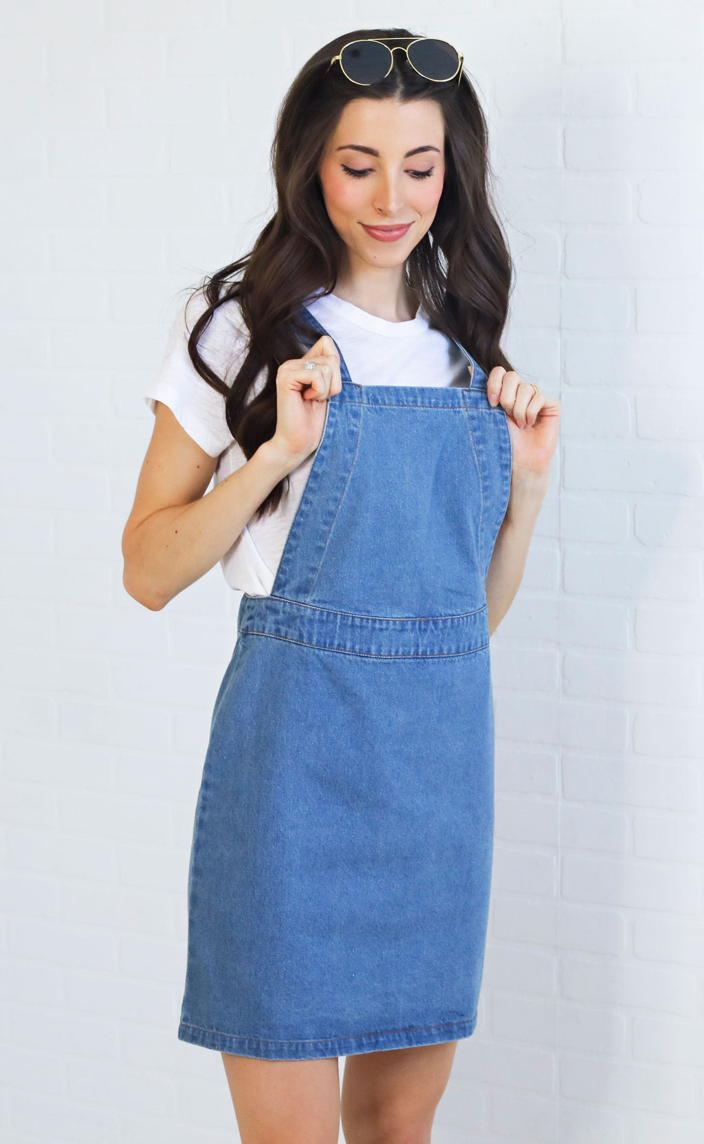 down in the denim overall dress