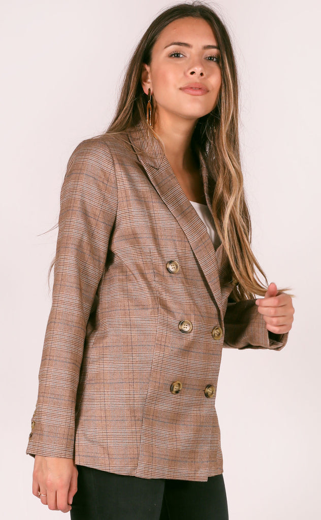 down to business checked blazer