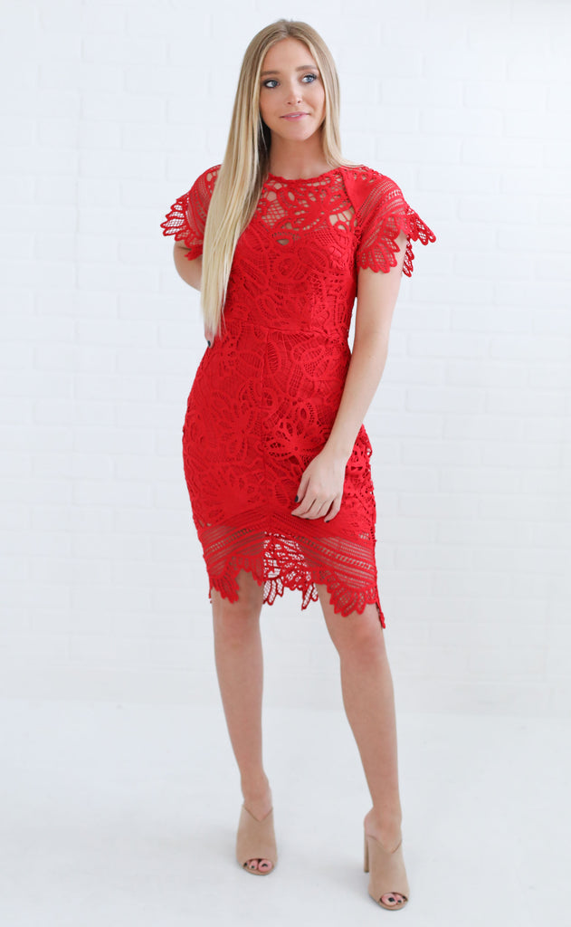 downtown lace dress - red