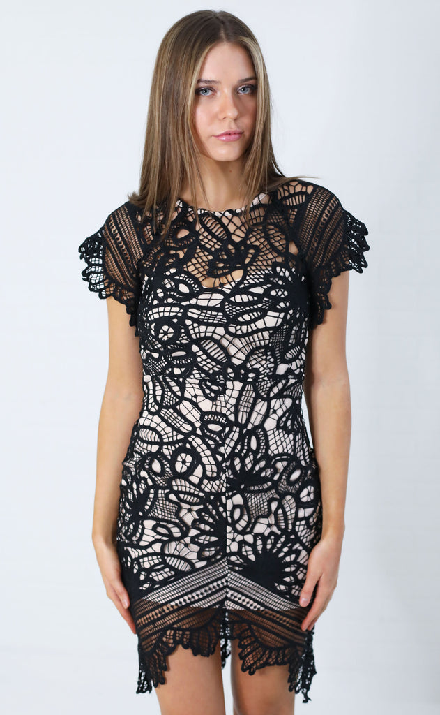 downtown lace dress - black