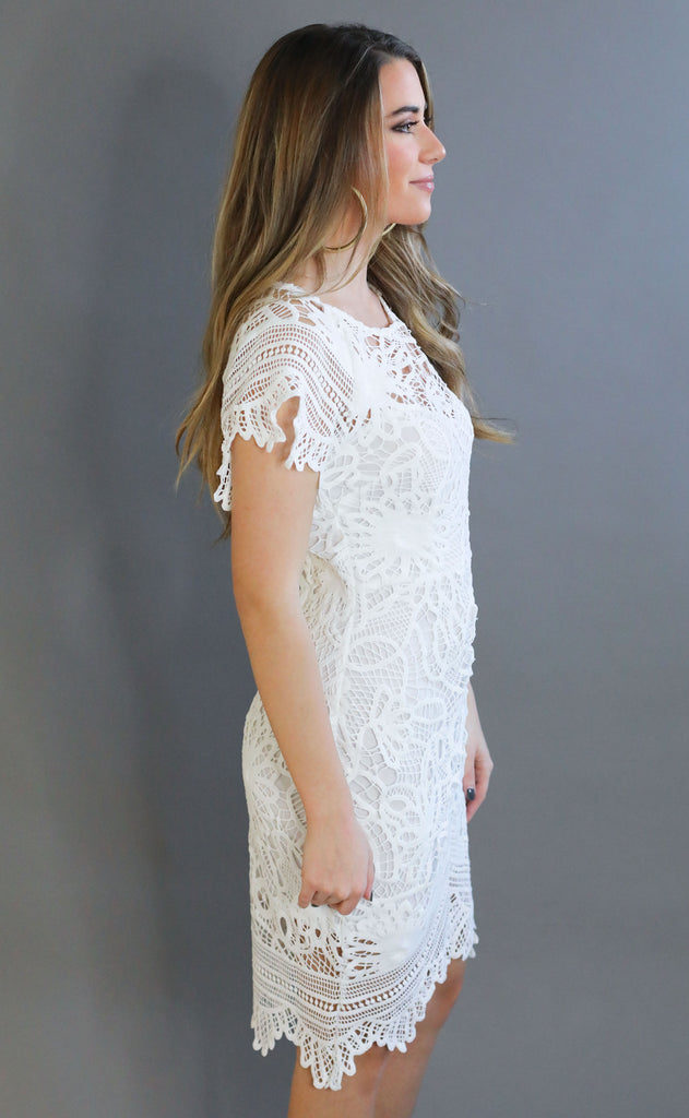 downtown lace dress - white