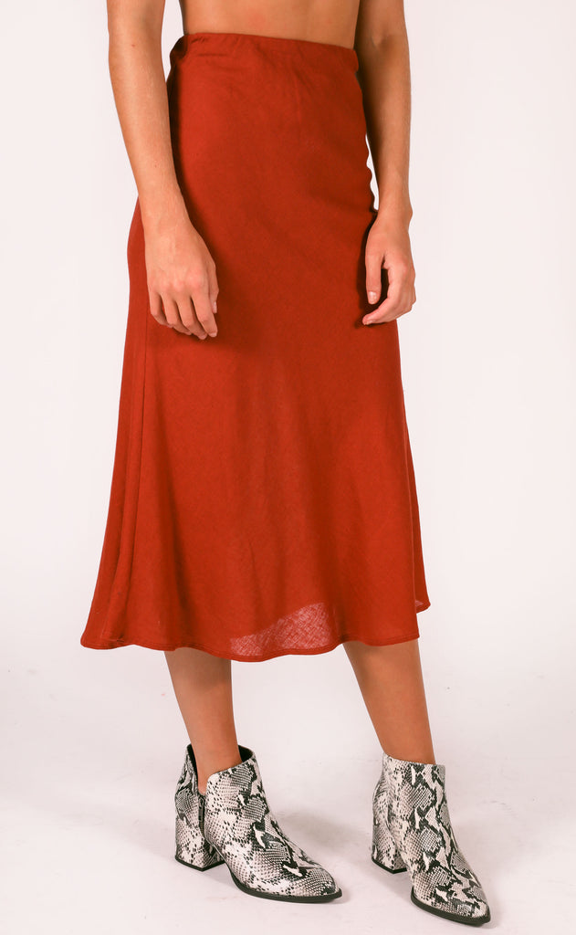 downtown midi skirt - burgundy