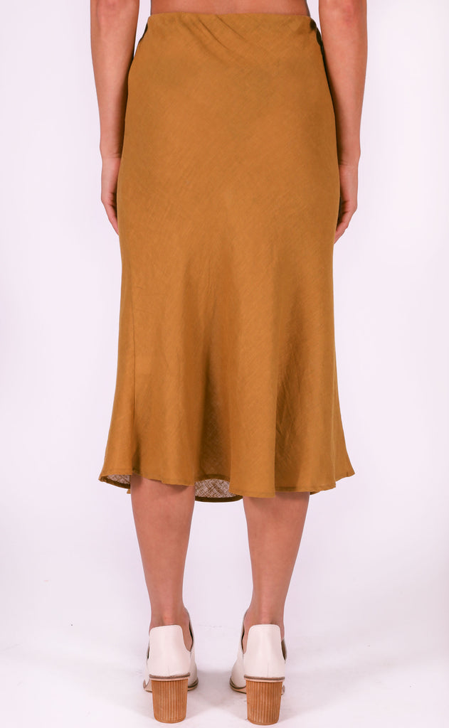 downtown midi skirt - mustard