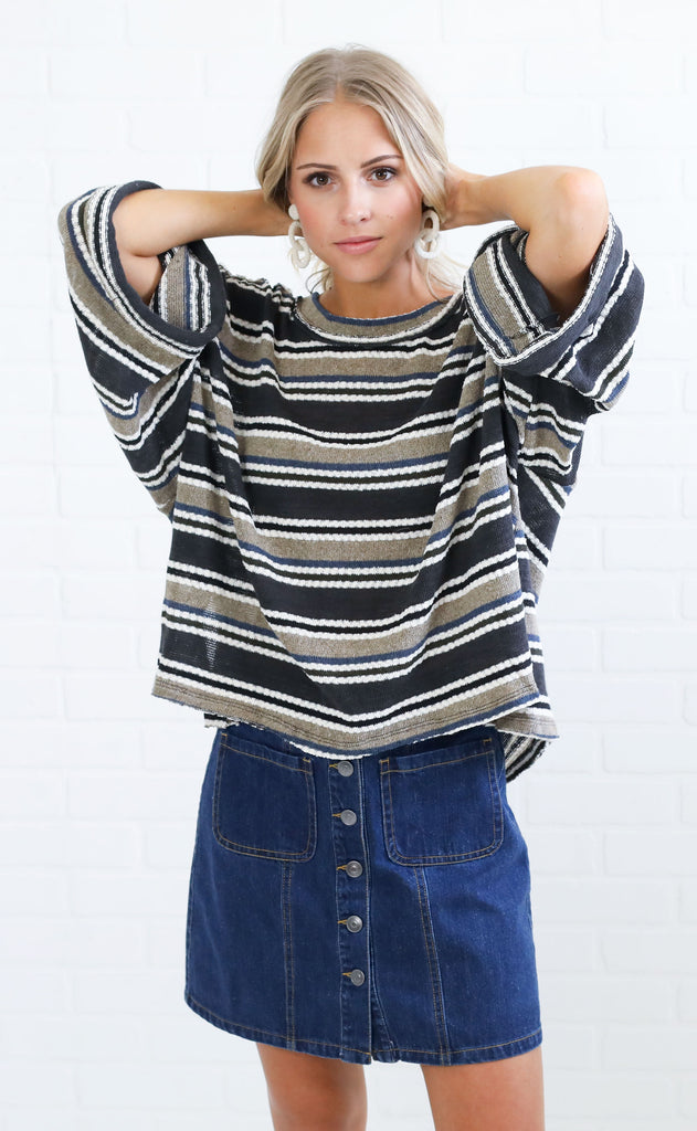 dreaming in stripes knit top