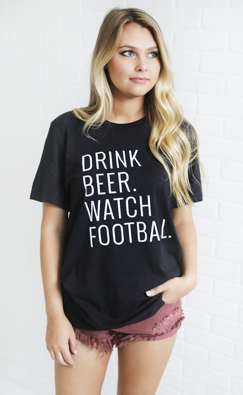 charlie southern: drink beer watch football t shirt
