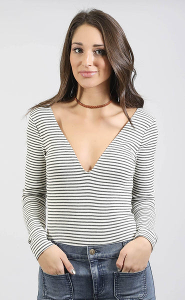 drinks on the house striped bodysuit
