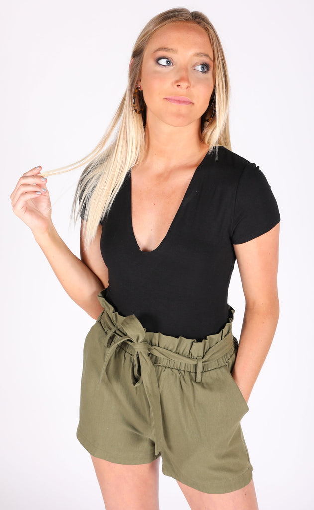 drinks on the house v-neck bodysuit - black