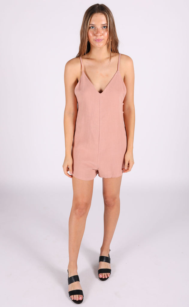 dusty rose linen romper - blush