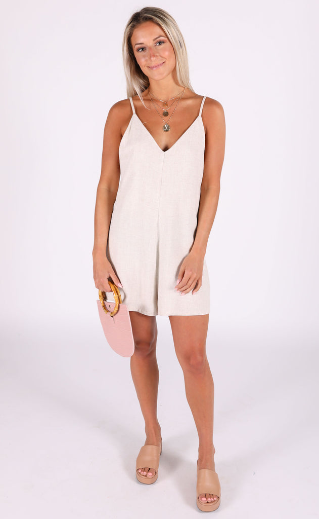 dusty rose linen romper - beige