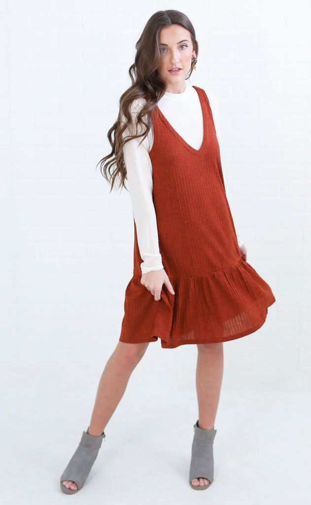 dynamic duo knit dress - camel