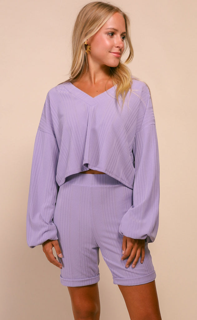 dynamic duo two piece set - lavender
