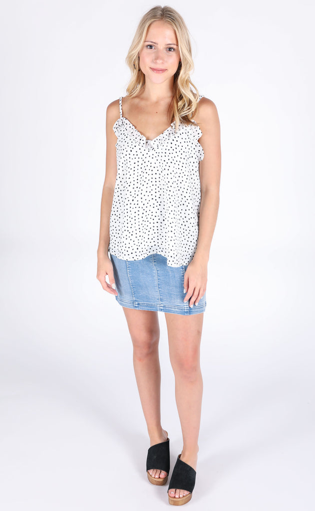 east side printed tank - ivory