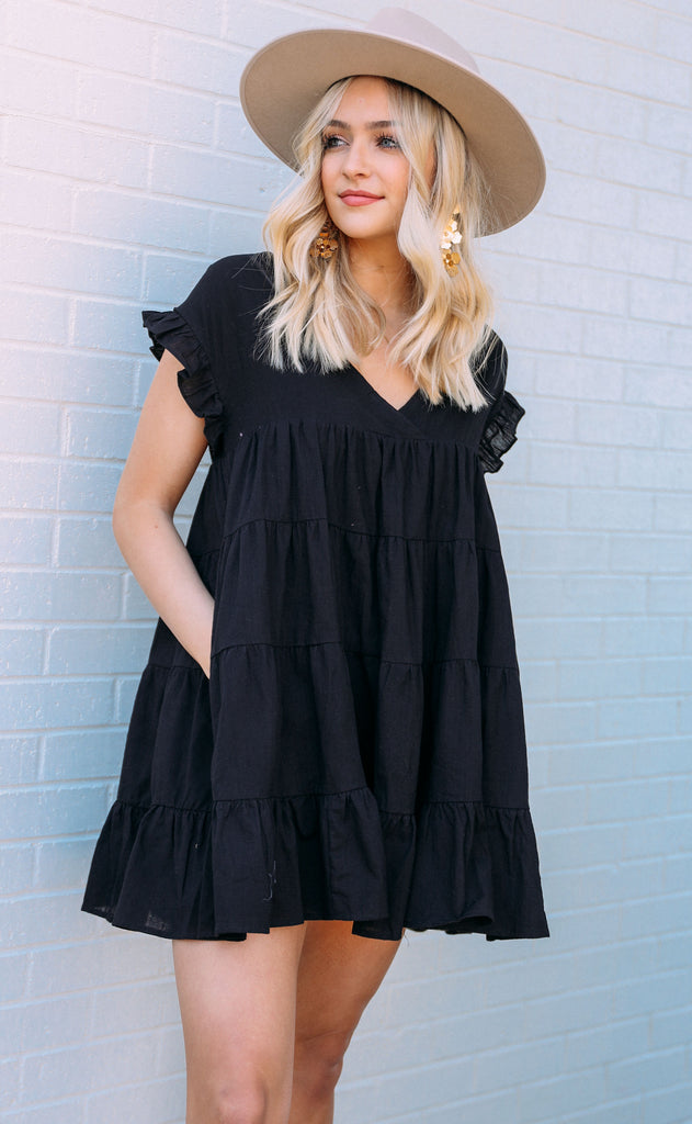 easy going tiered romper - black