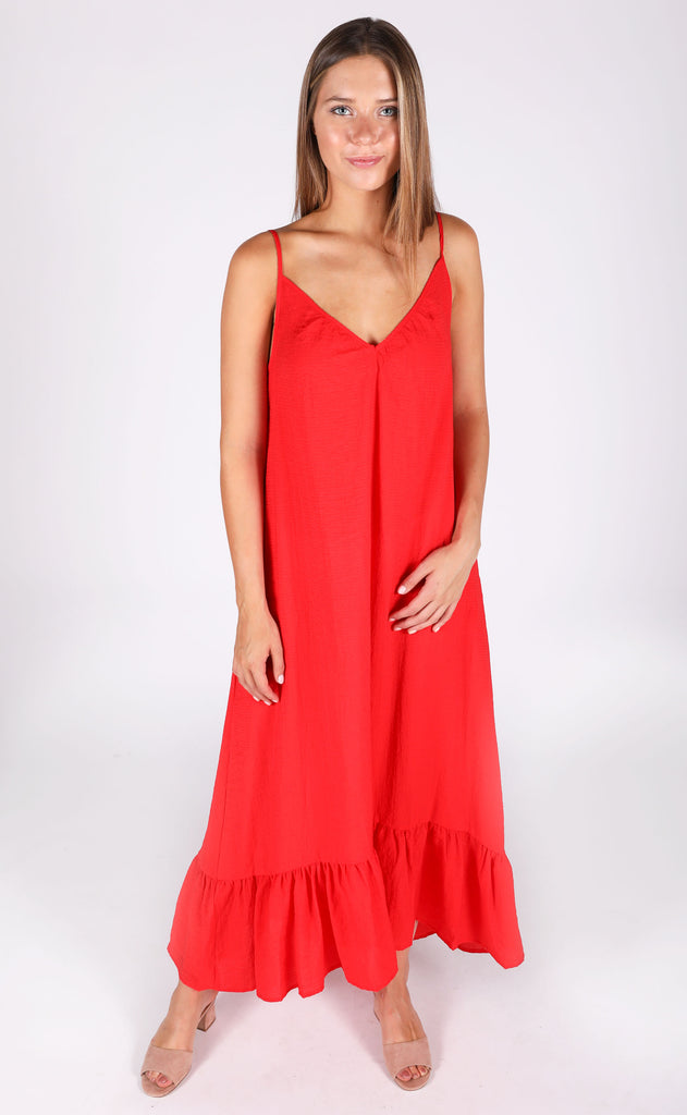 easy livin maxi dress - red
