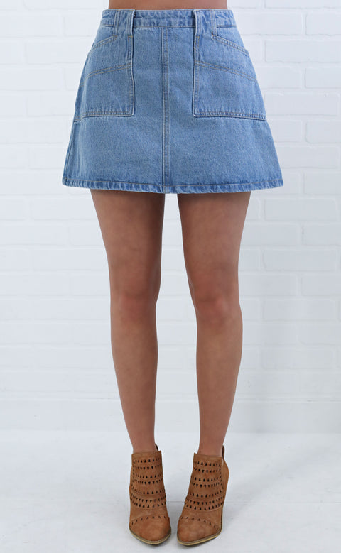 easy on my eyes denim skirt