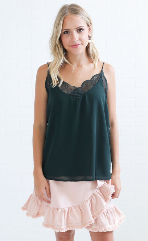 easy peasy lace top - hunter
