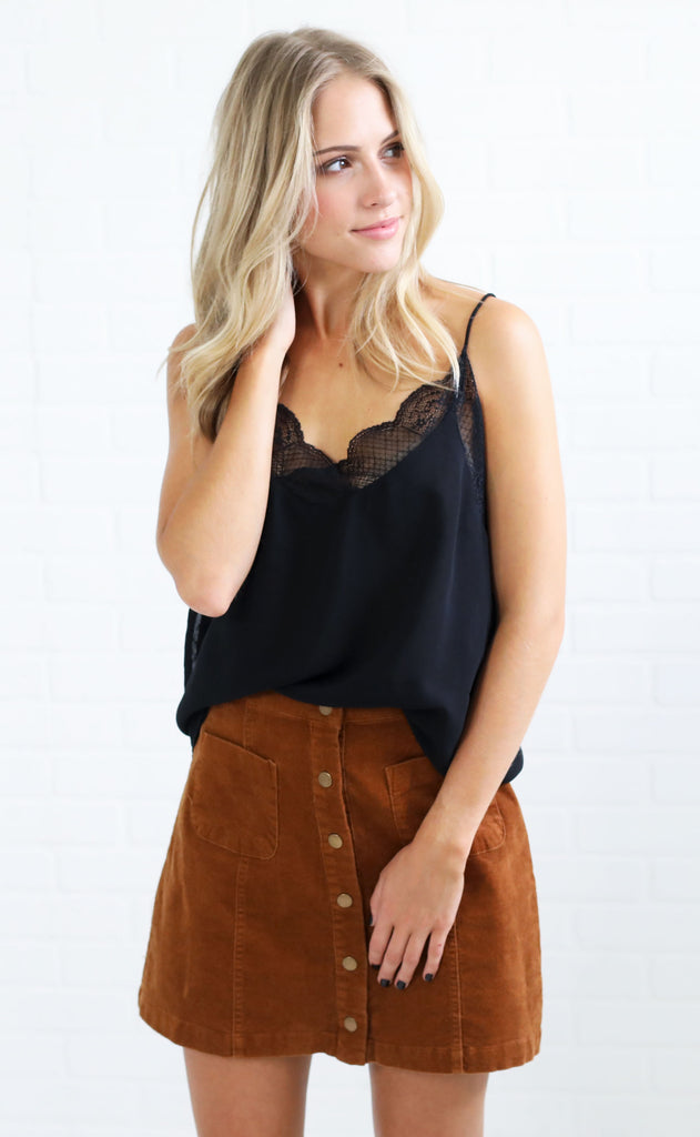 easy peasy lace top - black