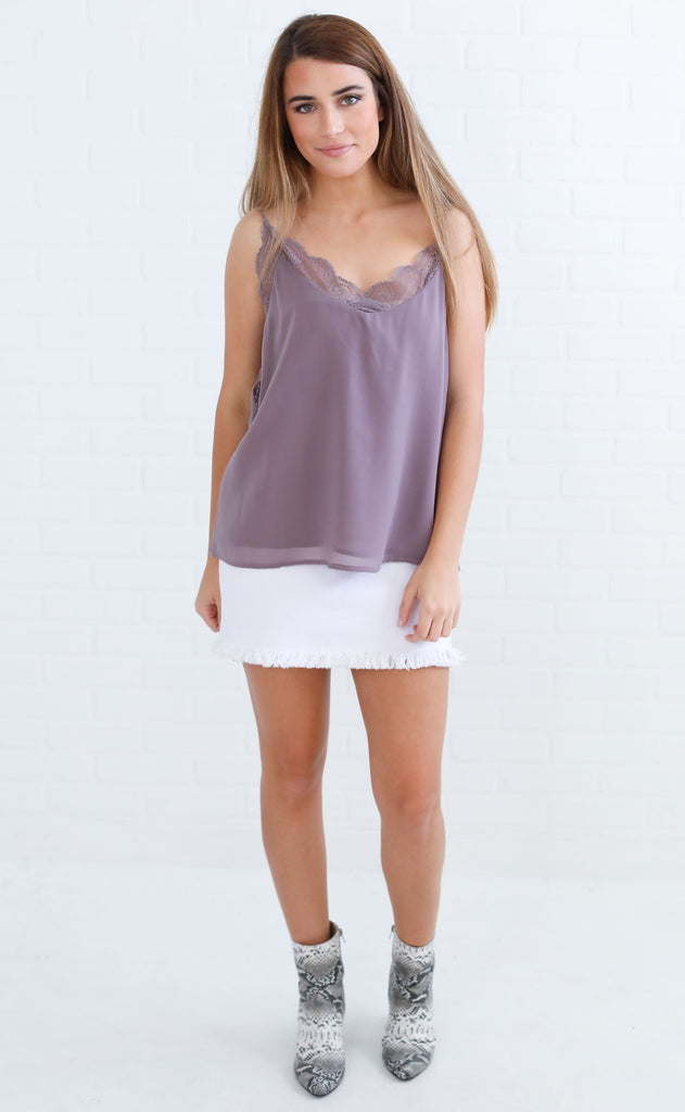 easy peasy lace top - lavender